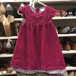 Magenta corduroy and floral dress size 2-3 yrs